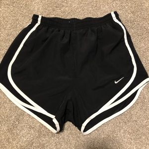 nike black and white running shorts (embroidered)